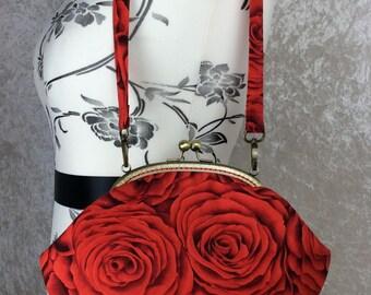 Red Roses Grace frame handbag purse clutch bag fabric handmade in England