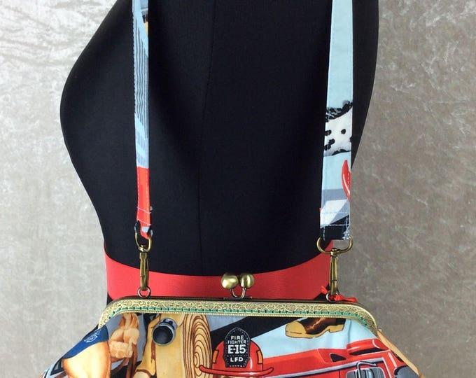 Hunky Firemen Grace frame handbag purse bag clutch Alexander Henry Ready for ActionFirefighter Fabric handmade in England