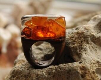 Amber ring Wooden ring Wood ring Wood amber ring Gift her Fashion ring brown ring modern ring honey ring Carved ring Baltic amber Boho ring