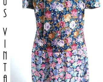 "Plus Size UK 30 Vintage 1920s-Style Floral Dress Flapper Downton Gatsby Silky Sissy EU 58 US 26 Bust 56""  143cm"