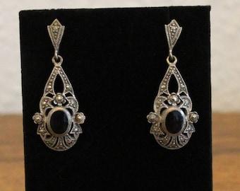 Vintage 925 Black Onyx and Marcasite Post Earrings