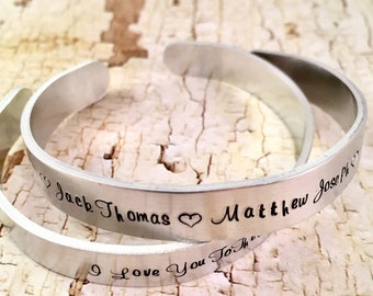 Personalized Name Bracelet, Mothers bracelet, Cuff bracelet, Mom of boys, Mom of girls, Aluminum Cuff Bracelet, Hand Stamped Jewelry