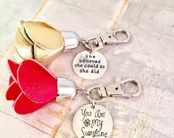 Tassel Keyring,  Rose Tassel keychain, Greek Life, Sorority tassel, College Gift, purse charm, Big Sis, Little Sis, Best Friend, for mother