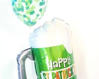 "Jumbo 34"" Green beer balloon. St Patrick's day balloons. Shamrock balloon. St patrick's day decor. Shamrock decor. Green beer"