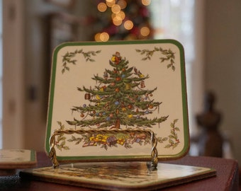 Set of 6 Vintage Pimpernel Spode Christmas Tree Coasters/ Cork Backed/ Barware