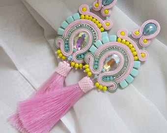 RESERVED Pastel summer earrings Bright earrings summer long pink earrings gift for sister summer jewelry for women gift boho earrings fringe