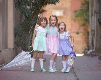 Spring Suspender Skirt, Tie Back, Pastels, Girls Skirt, Easter Skirt, Pink Skirt, Toddlers, Girls Clothing, Lilac