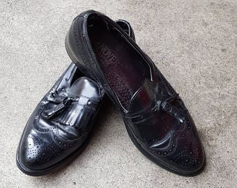 Vintage Black Leather Tassel Loafers UK 6.5