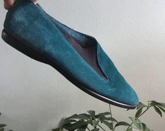 80s teal blue Capezio suede flats size 7.5