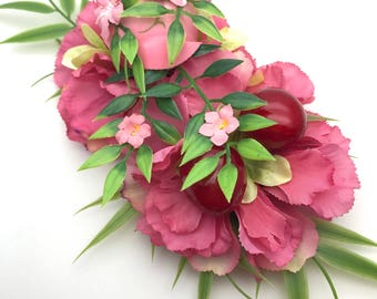 Handmade Pink Bird, Carnation & Glossy Red Cherry Hair Flower Clip