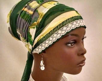 Fabulous green mesh sinar tichel, tichels, head scarves, hair snoods, chemo scarves