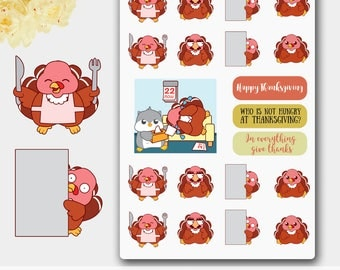 Thanksgiving stickers,Thanksgiving Planner Stickers,November Stickers,Emoji Stickers,Turkey Stickers,November Sticker,Funny Sticker