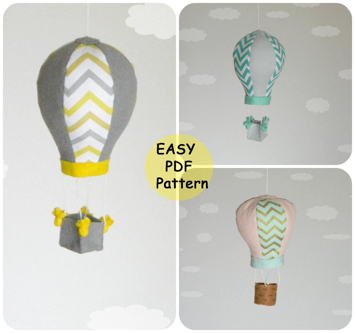 PDF Hot Air Balloon Pattern Baby mobile pattern Hot Air Balloon ...
