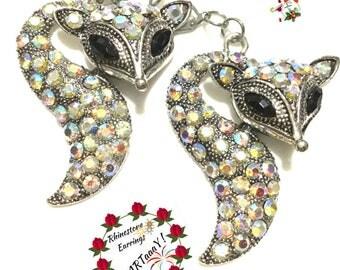 Stylish Rhinestone Earrings, On Trend Earrings, Large Fox Earrings, On Trend Gift, Best friend gift , Party Earrings, Earrings OTT