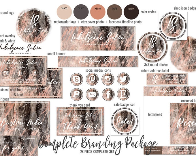 BLACK MARBLE & Rose Gold Branding Kit Hand Lettered Font Modern Etsy Shop Set Cover Photo Chic Logo Business Card Social Media Icons Sticker