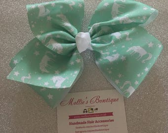6.5-7'' BIG 'JoJo' inspired Bow - Mint Green Unicorns