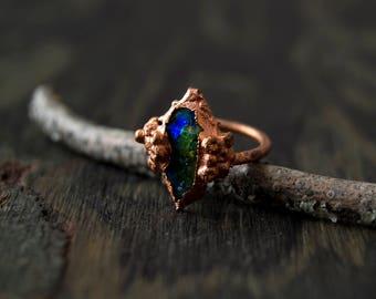6.5/ Blue Green Lagoon Electroformed Copper Resin Ring