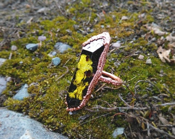 9/ Lichen Specimen Forest Tree Spore Moss Nature Eco Copper Electroformed Elongated Long Resin Ring