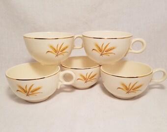 MUG GOLD WHEAT Cup Coffee Tea Collectible Golden Trim Taylor, Smith, & Taylor Vintage Retro