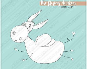 Donkey Digital Stamp-Flying Donkey Digi Stamp-Kids Coloring Page-Donkey Clipart-Farm Animals-Line Art-Digital Download-Instant Download