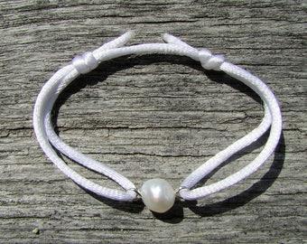 White Pearl Bracelet, Genuine Pearl Jewelry, Single Pearl Satin Bracelet with sliding knots, Adjustable Bracelet, Natural Pearl Jewelry