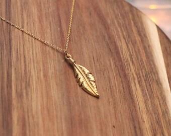 Feather Necklace, Gold Vermeil Necklace - 24k Gold Vermeil, Delicate Necklace