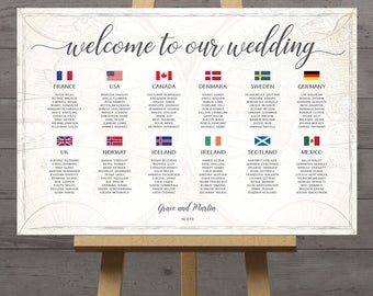 Seating chart travel theme wedding table plan with country flags of the world map, destination wedding, DIY printable, DIGITAL