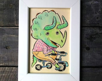 "Original Framed 4x6"" Ink and Watercolor Painting - Tricycle Triceratops"