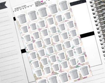 "DECORATIVE - ""Trash Metal Cans"" Individual Decorative Stickers - Decorative Planner Stickers"