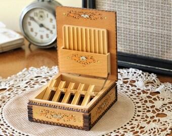 Small Cigarette Box - Wooden Cigarette Organizer - Vintage Cigarette Dispenser - Cigarette Box Holder - Smokers Gift - Rustic Home Decor