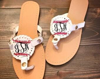 FLASH SALE! Monogram Baseball Sandals - Monogram Softball Sandals - Baseball Flip Flops - Softball Flip Flops - Monogrammed Sandals