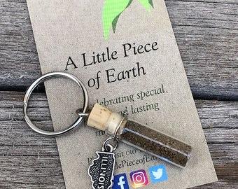 Illinois Soil Key Chain with Metal Illinois Charm, Illinois Dirt, Key Chain Souvenir, Earth Memento