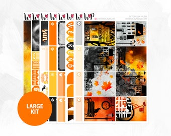 October in Salem Large Kit | Full Boxes Checklists Functional Boxes Headers Sidebar Extras Washi | Matte Glossy Planner Stickers