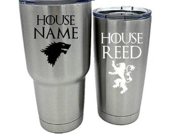 Game of Thrones Personalized Vinyl Name Tumbler Decal Plastic, Yeti, Rtic, Ozark Trail Custom