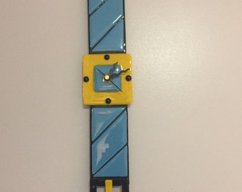 Turquoise Blue and Yellow Watch Clock