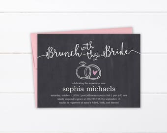 Bridal Shower Invitation Printed or Printable, Rustic Wedding Shower Invitation, Chalkboard DIY Shower Invite, Personalized Thank You Cards