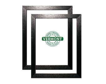 Set of 2 - 11x14 Black Picture Frame, Wood, Handmade In VT, Black Frame Set 11 x 14 in, Photo Frame 11 x 14 Set, Black Photo Frame 14x11