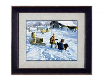 "26x22 ""Sledding Party"" Art Print by Robert Duncan, Framed & Matted, Girl Pulls Sled Snow, Winter Art, Snow Scene Art, Country Art, Farm Art"