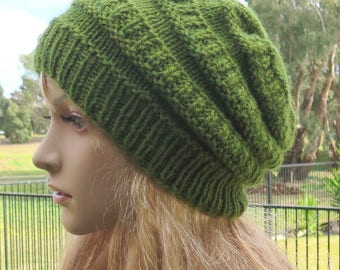 Knit Slouch Beanie, Green Slouchy Hat, Wool and Alpaca Beanie, Woollen Slouchy, Winter Beanie Hat