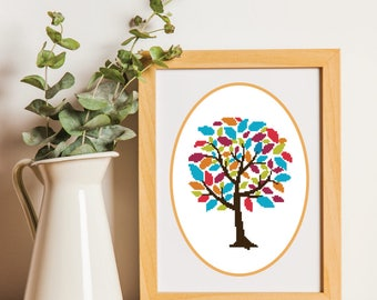 Modern Cross stitch Pattern,Color Tree,14 Count Aida,DMC Floss,PDF Pattern,Instant download #1