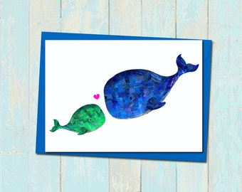 Whale fathers day card, Cute blank fathers day card, First fathers day card, Whale father and son card, Whale father and daughter card