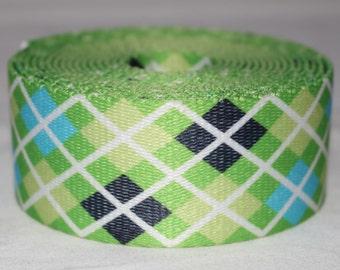 "Green Argyle Dog Collar - Side Release Buckle (1"" Width)"