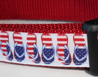 "Patriotic Flip Flop Design Dog Collar - Side Release Buckle (1"" Width) - D-Ring Martingale Option Available"