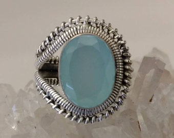 Faceted Aqua Chalcedony  Ring, Size 8