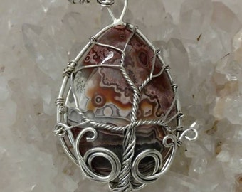 Wire Wrapped Crazy Lace Agate Tree of Life Pendant Necklace
