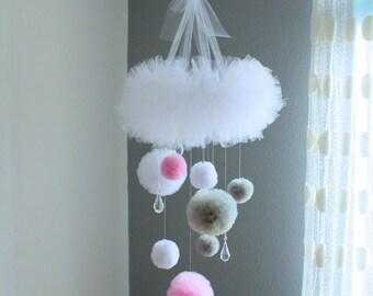 Pom Pom Mobile, Baby Girl Mobile, Baby Girl Decor, Tulle Mobile, Nursery Mobile, Girl Nursery Decor, Hanging Mobile, Crystal Mobile