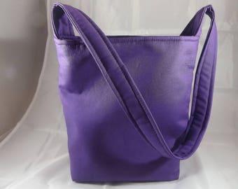 "2ot - dark purple Bingo bag or handbag, @ 8""w x 9""h x 4""d, cotton, inside pockets, MJSEWS"