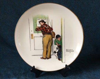 Vintage Gorham Norman Rockwell 1979 Collectors Plate, Spring Closed For Business, Four Seasons Series