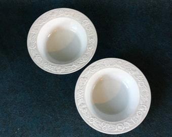 Vintage Anchor Hocking White Vitrock Cereal Bowls, Set of 2, Depression Glass