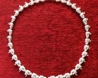 Vintage Elephant Faux Ivory & Bone Bead Necklace